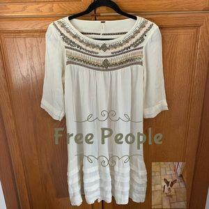 Free People beaded 3/4 sleeve rayon dress size XS